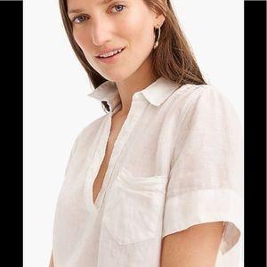J Crew Short-sleeve Linen Popover Top Shirt S